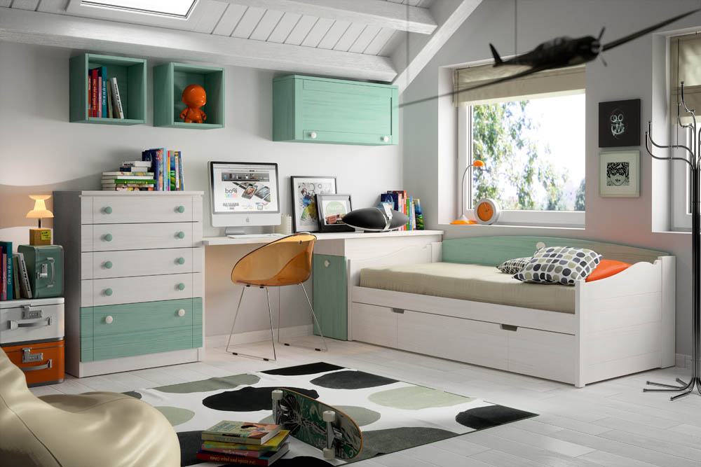 880 dormitorio de madera en blanco. Black Bedroom Furniture Sets. Home Design Ideas
