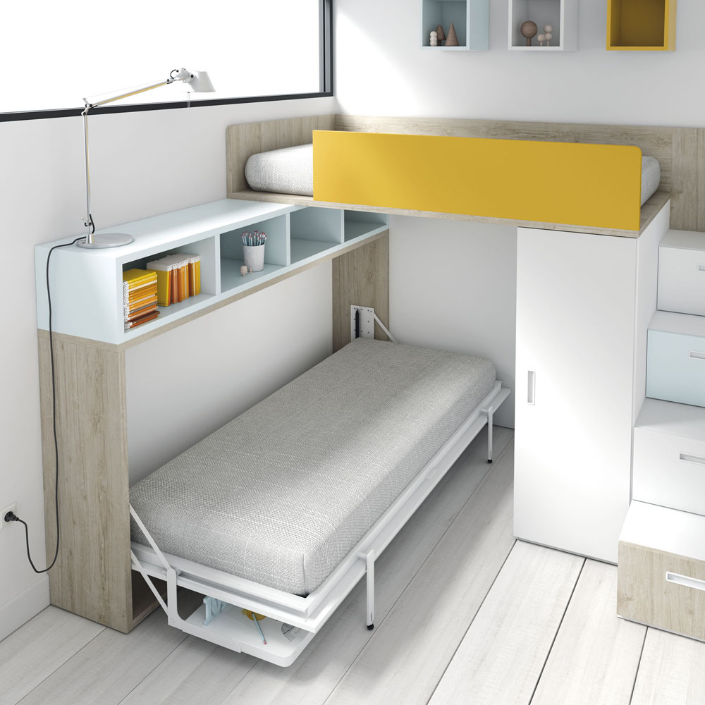 Cama abatible abierta for Literas abatibles ikea
